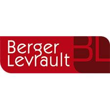 Logo Berger Levrault – Un rectangle avec deux coins opposés arrondis est divisé en deux. À gauche, « Berger Levrault » en lettres d'imprimerie blanches sur fond rouge. À droite, les initiales B et L en rouge sur fond marron.