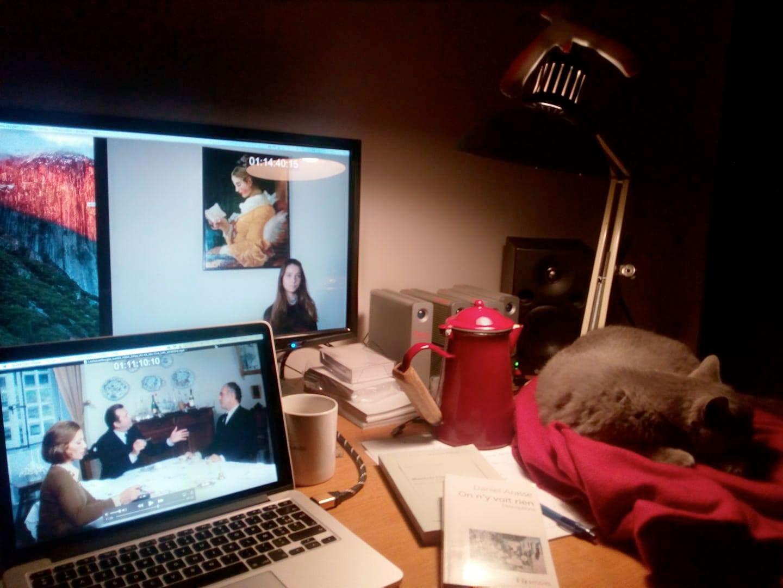 Une lampe de bureau éclaire une table. Un écran et un ordinateur sont allumés sur des images de films. On reconnait Michel Piccoli, Stéphane Audran, Claude Pieplu, et « La liseuse », un tableau de Fragonard. À côté de l'ordinateur, une théière rouge, une tasse, et un gros chat gris qui dort en rond sur une couverture rouge. ©Marie Gaumy
