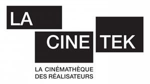 Logo LaCinetek – Deux rectangles noirs sont posés l'un sur l'autre légèrement en quinconce. Un troisième les jouxte à droite. Dans chacun des rectangles s'inscrit un mot en lettres capitales blanches : La Cine Tek