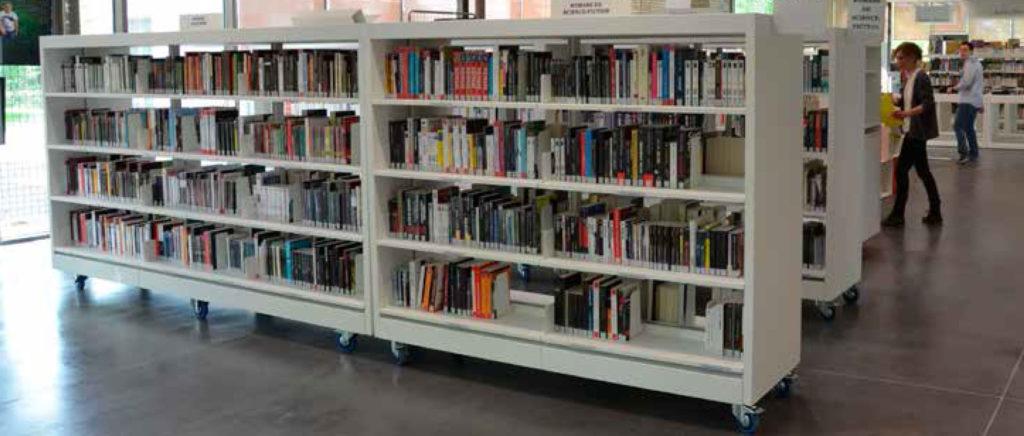 Près d'une baie vitrée, les rayonnages blancs d'une bibliothèque sont chargés de livres.