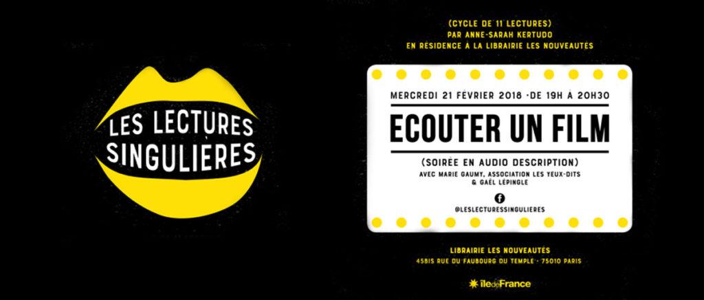 Affiche de l'évènement. Sur fond noir, deux traits jaunes figurent une bouche entr'ouverte. Entre les lèvres, on peut lire : « Les lectures singulières ».